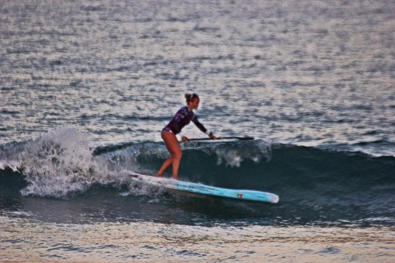 Victoria-Surfing-her-race-board